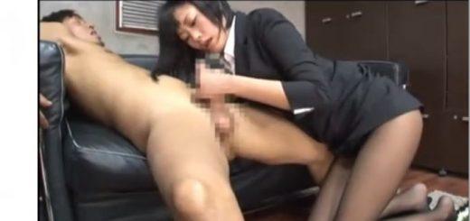 【琥珀うた】淫乱な生保レディが客から契約を取るために誘惑し、手コキ&フェラ&アナル舐めからの口内射精&ごっくん